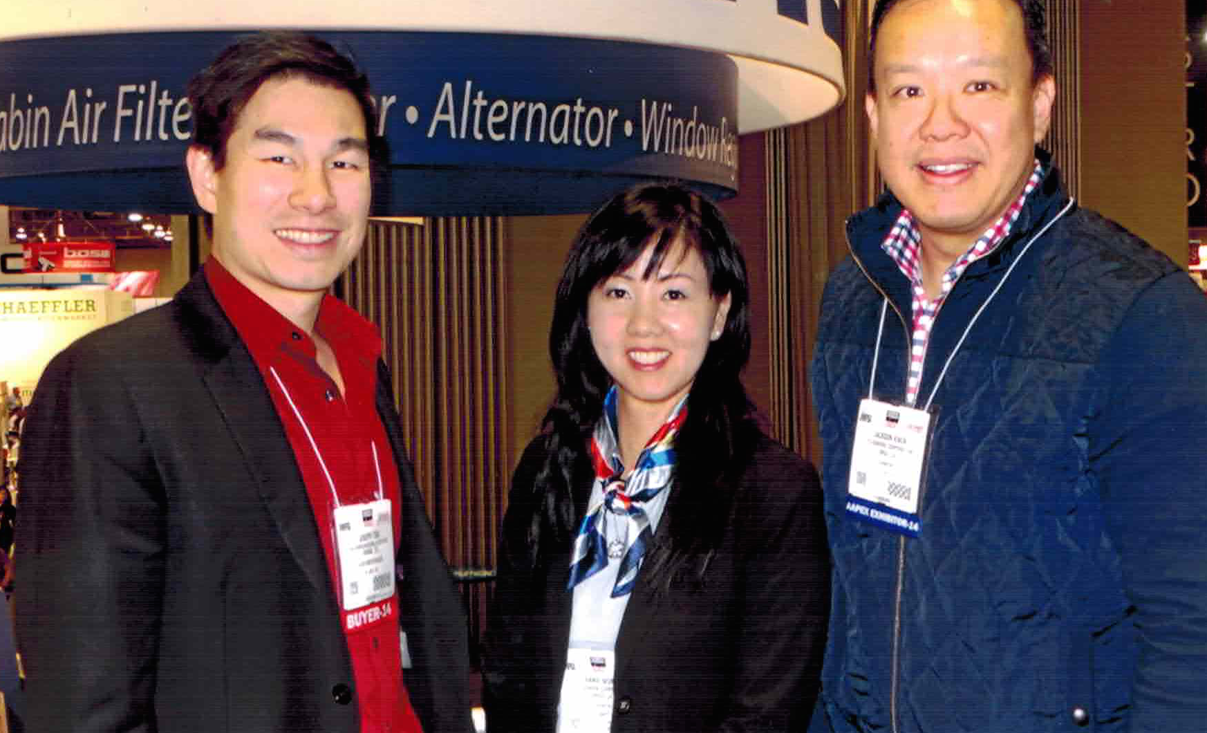 Joseph Tsai of UCC, Annie Wong of Genera, and Jackson Kwok of Genera at the Genera booth at AAPEX.
