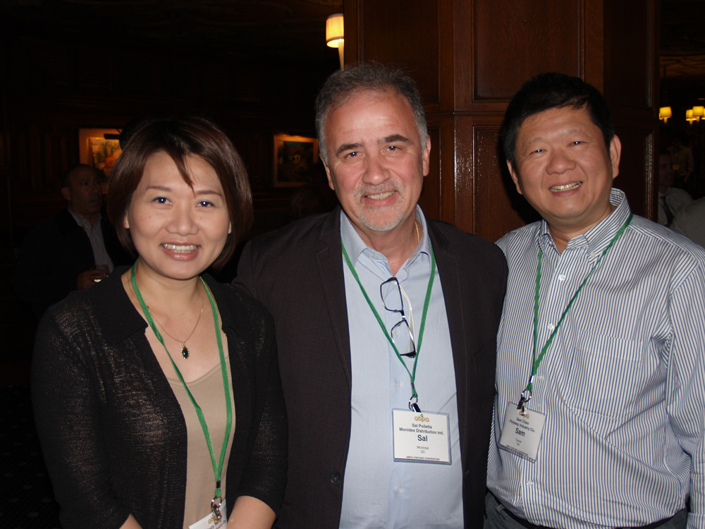 Emily Tseng of Polyway, Sal Polletta of Monidex, and Sam Chen of Polyway.