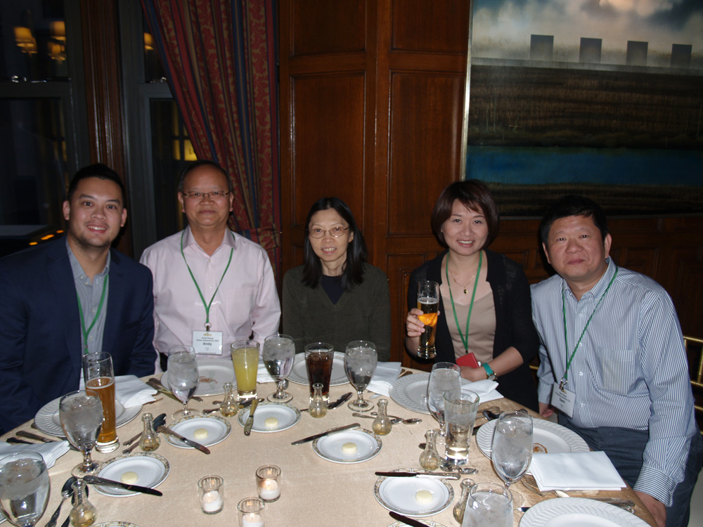 Oliver Huang of Vision, Andy Huang of Vision, an unidentified guest, Clara Baile of TYC, and Sam Chen of Polyway.