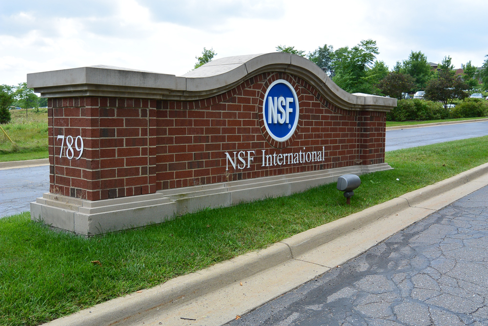 Main entrance to the NSF International headquarters in Ann Arbor, Michigan