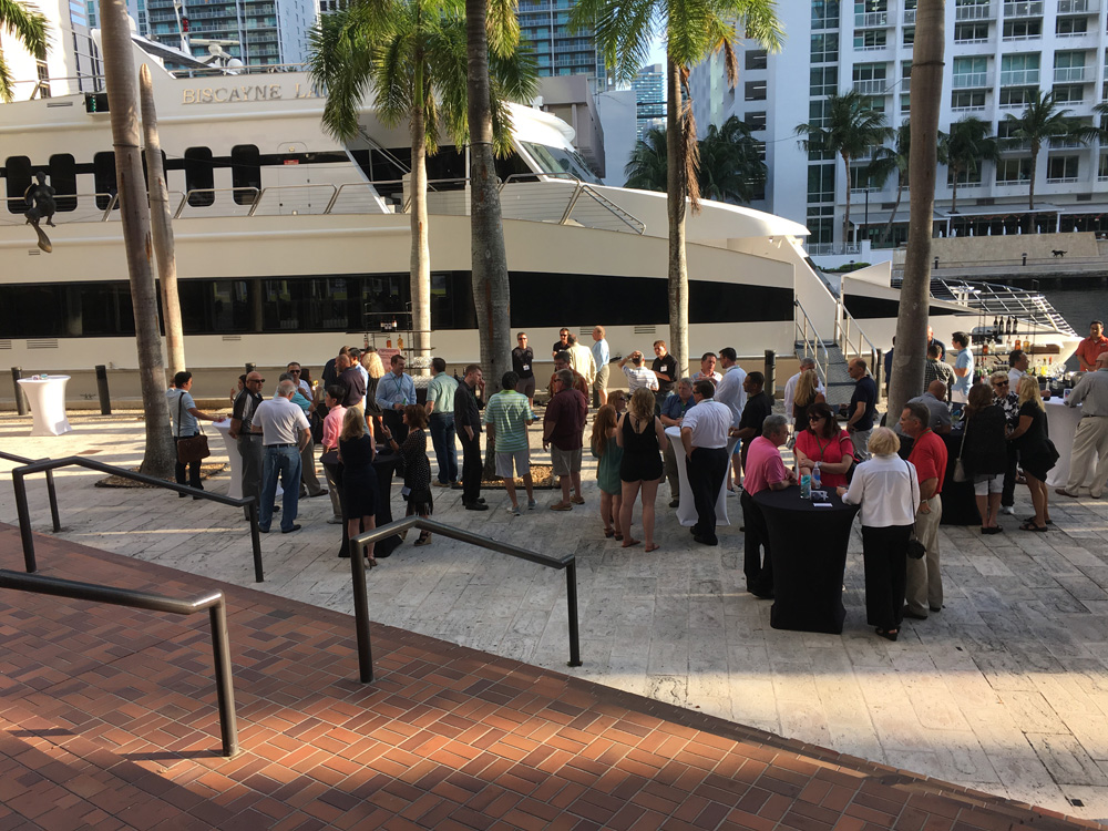 A lively crowd gathered dockside to enjoy the CCC cocktail reception on Thursday evening.