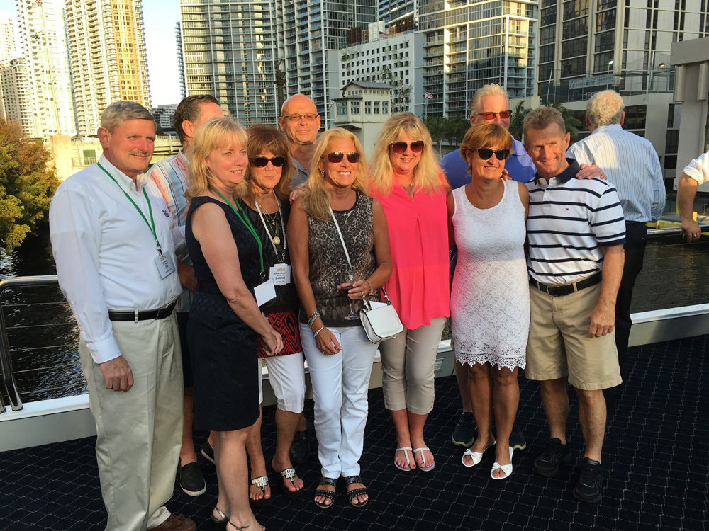 Some of the aftermarket parts industry's leading lights got together for a sun-dappled photo op. From left: Jim Smith, Bev Smith, Dave Oser, Dolores Richardson, Gary Suchan, Kim Hicks, Nancy Koren, Mike Koren, Susan Morrissey, Dan Morrissey.